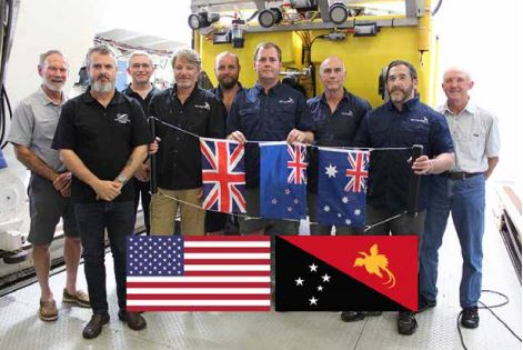 RV Petrel survey crew and expedition team in front of the ROV.