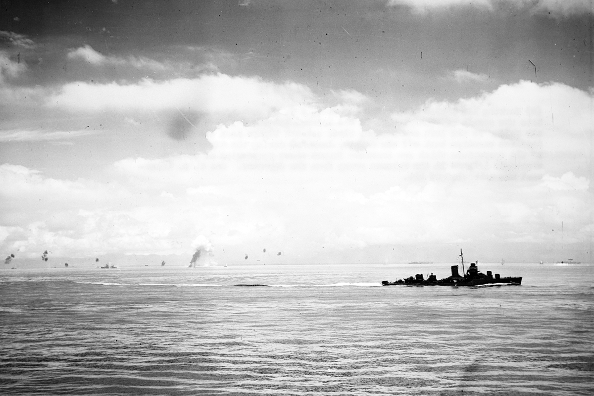 Ships maneuvering during the Japanese torpedo plane attack on the Tulagi invasion force, 8 August 1942. Image: U.S. Naval History and Heritage Command.