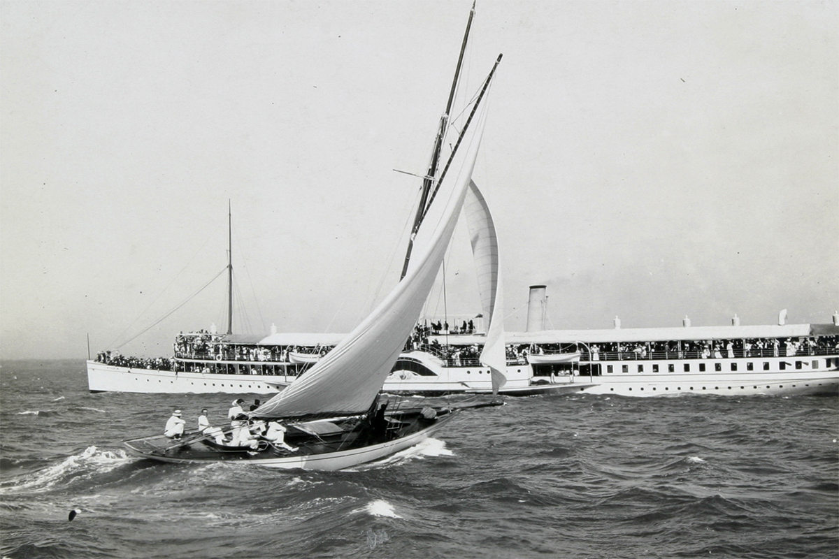 SAYONARA was built for Melbourne businessman George Garrad in 1897, to a design by William Fife III from Scotland, considered the most important naval architect of the period. HV000367.