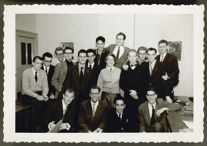 Klaas Woldring (top right) with classmates at Hotelschool The Hague, 1959. Reproduced courtesy Klaas and Aafke Woldring.