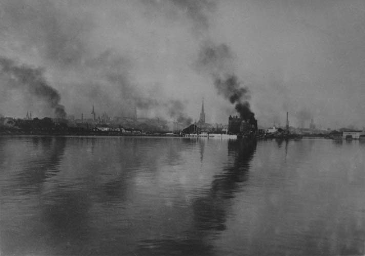 The refugee's last glimpse of Tallinn in flames, 1944. Reproduced courtesy Estonian Archives in Australia. Reproduced courtesy Maie Barrow.