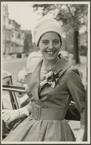 Aafke Woldring on her wedding day, 1959. Reproduced courtesy Klaas and Aafke Woldring.