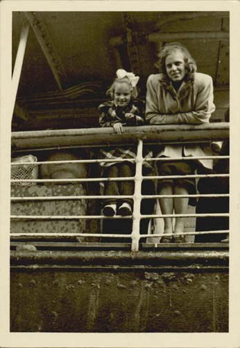 Maie and Dagy Talmet on the deck of Oxfordshire in Adelaide, 1949. Reproduced courtesy Maie Barrow.