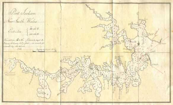 The chart of Sydney Harbour in Bradley's log notes place names, some of which are still in use, while others have been superseded. ANMM Collection.