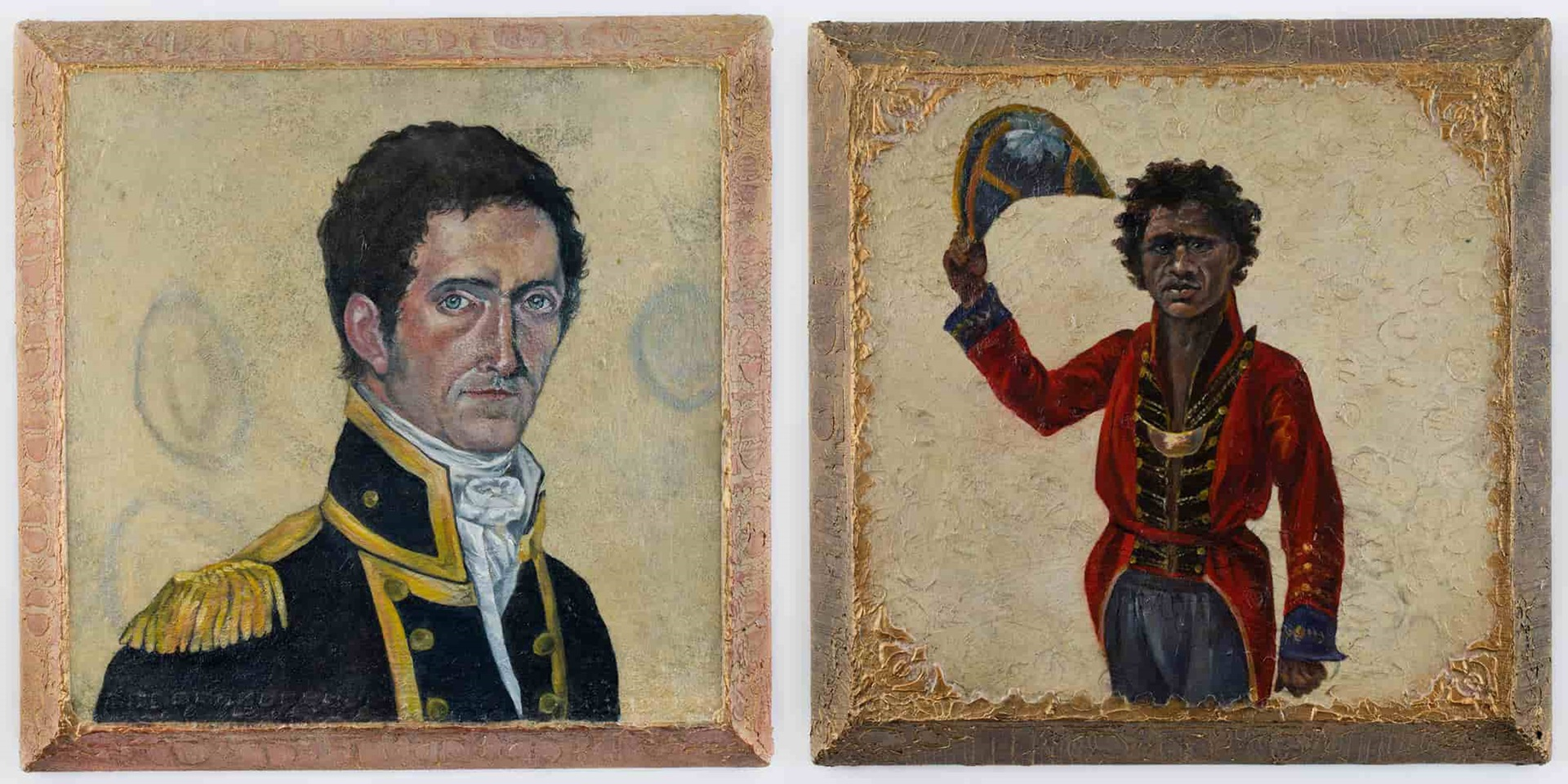 Matthew Flinders and Bungaree by Helen Tiernan from her series 'Heroes of Colonial Encounters'. ANMM Collection 00055144 and 00055142.