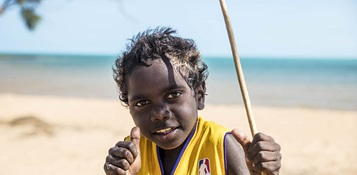 On location in Yilpara in north-east Arnhem Land. Photo by Justin Overell for Carbon Creative.