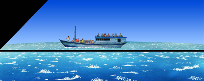 Boat on water with group of people on board