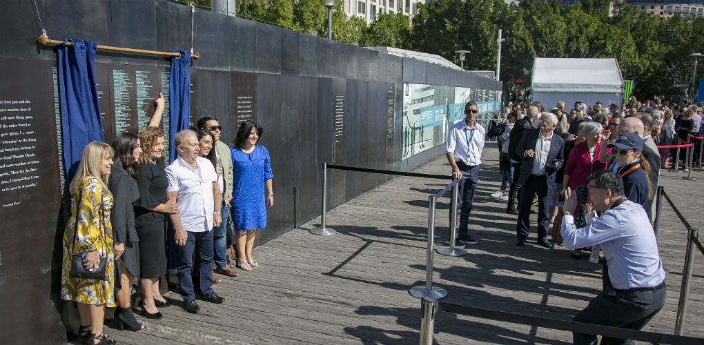 Welcome Wall unveiling ceremony, 7 May 2018. Mary Lagana, daughter of Giuseppe and Caterina from Calabria, Italy
