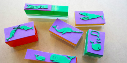 foam whale stamps