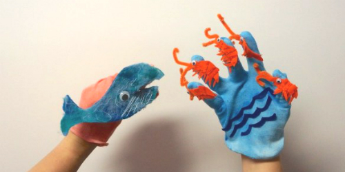 whale and krill finger puppets