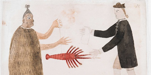 Maori trading a crayfish with Joseph Banks, by Tupaia, 1769.