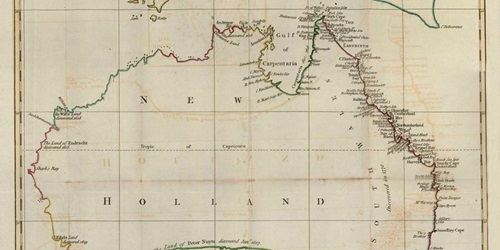 A New Chart of New Holland on which are delineated New South Wales and a Plan of Botany Bay, drawn and engraved by Jno. Andrews. 1787. ANMM Collection 00000368.