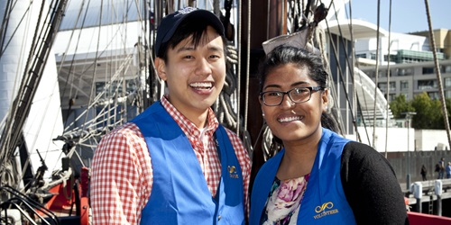 Museum volunteer guides on board HMB Endeavour