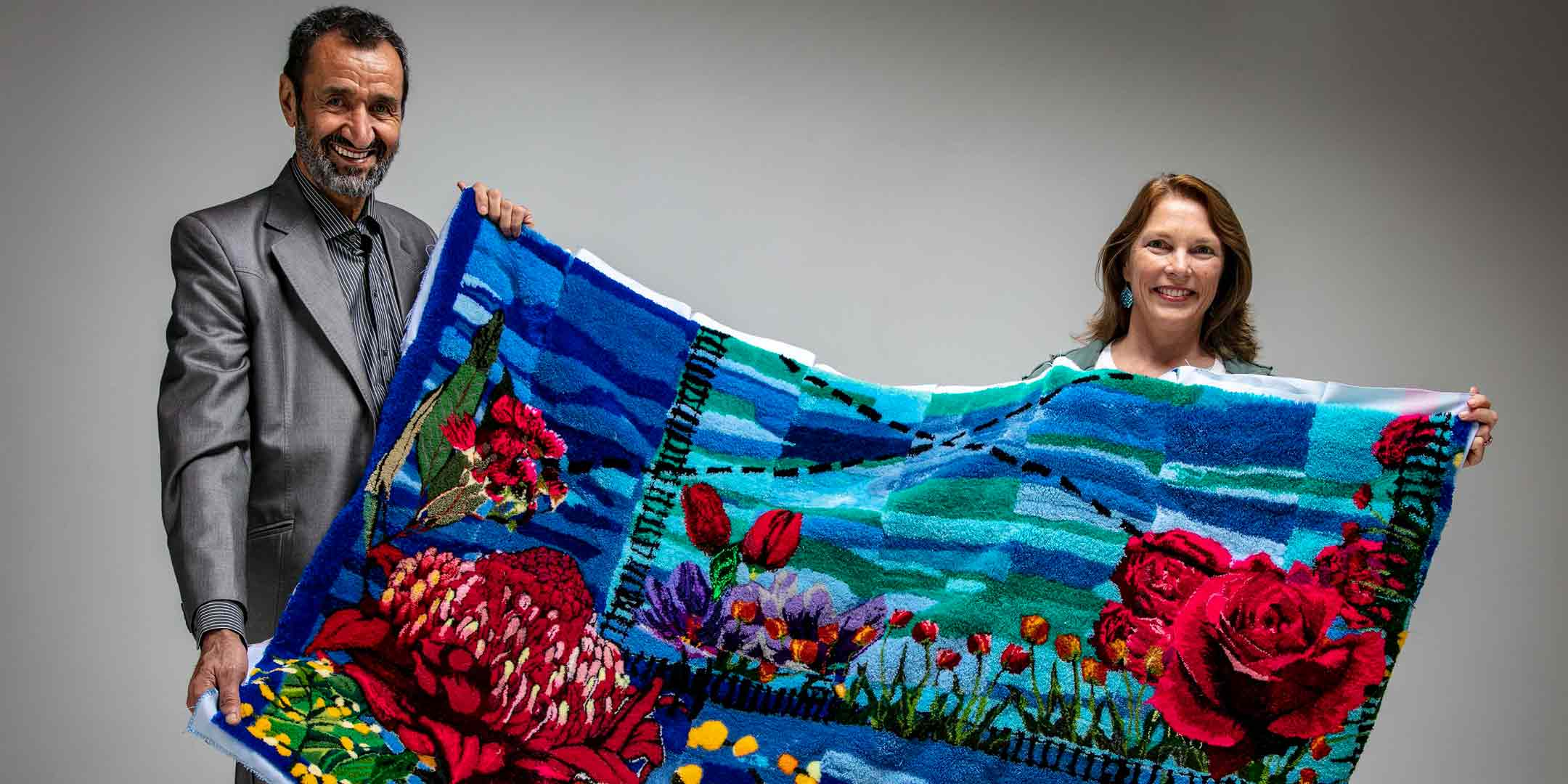 Textile artists Sayd Abdali and Jane Théau. Image:  Jane Théau