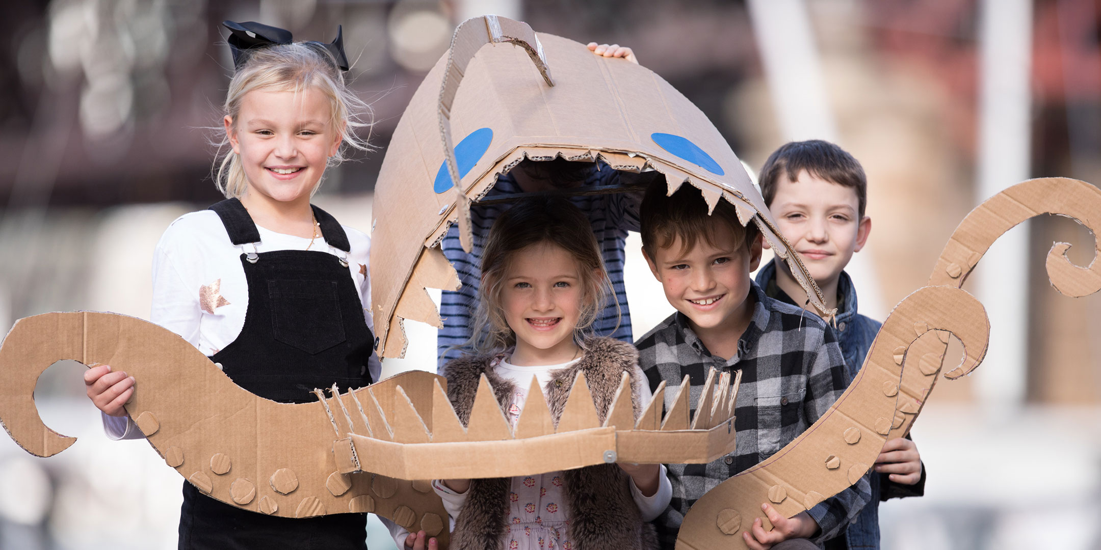 Kids with cardboard sea creature