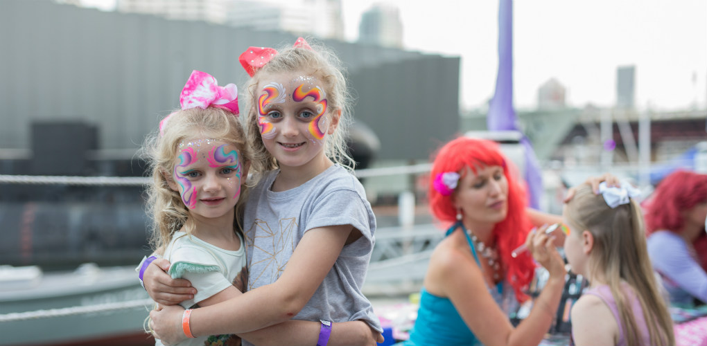 Face painting: New Year's Eve celebrations at the Australian National Maritime Museum, Darling Harbour, Sydney 2017