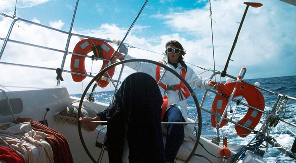 Kay Cottee steering Blackmores First Lady across the Pacific Ocean. Reproduced courtesy Kay Cottee.