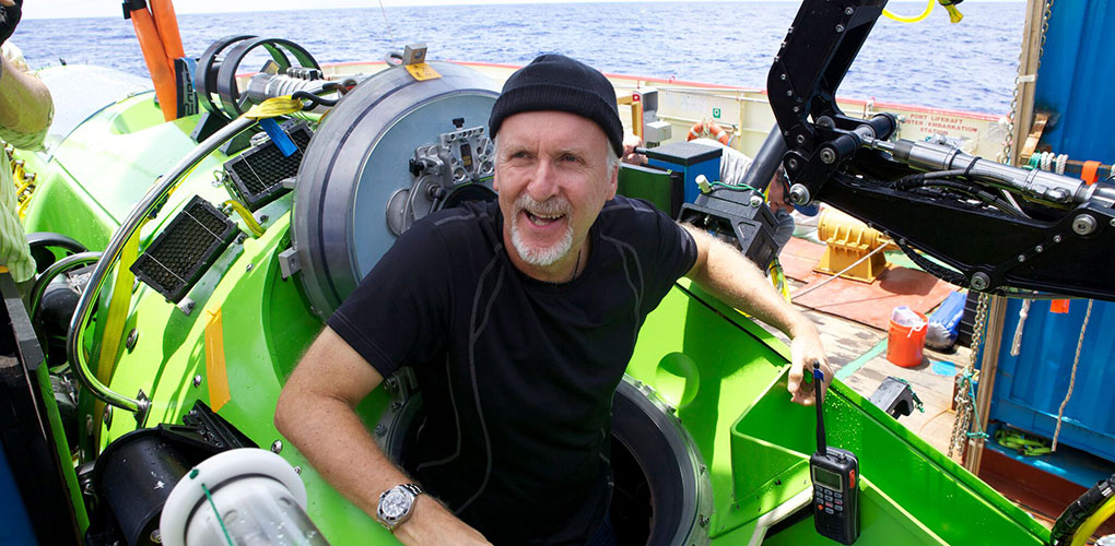 James Cameron in the DEEPSEA CHALLENGER. Mark Thiessen/Nat Geo Creative.