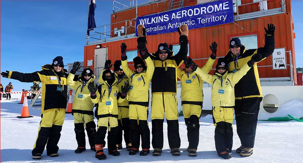 Students with Minister Frydenberg at Wilkins Aerodrome, Antarctica - November 2017