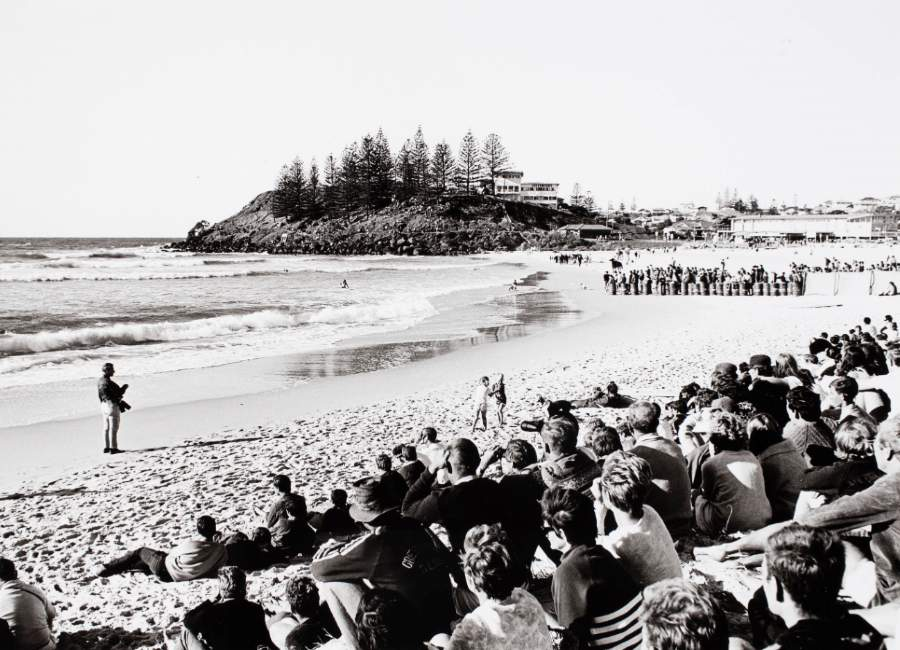 Spectators sitting on the beach watching the Australian Championship at Coolangatta, Queensland, 1966 © Jack Eden.  ANMM Collection Gift from Dawn and Jack Eden,  ANMS1078[022]