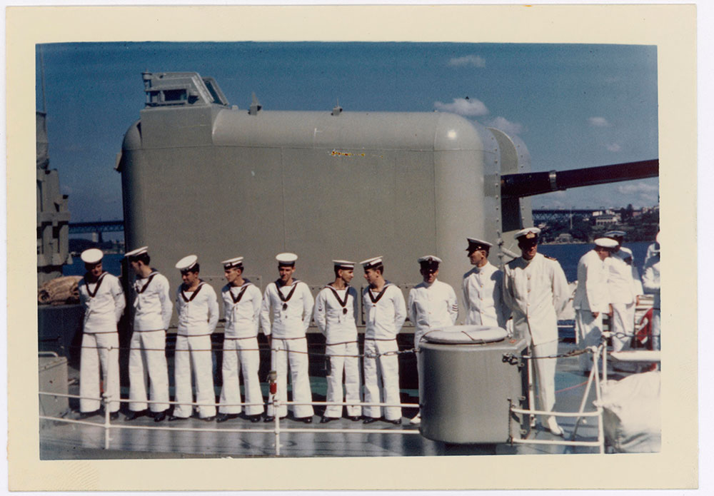 Sailors in uniform on HMAS Voyager
