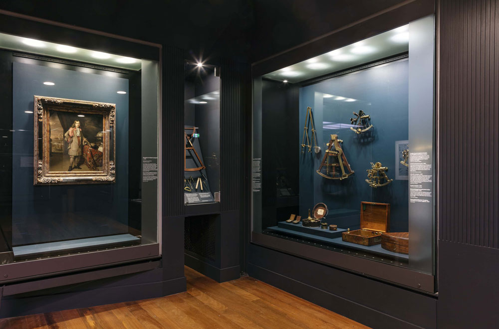 Under Southern Skies gallery - 'Portrait of a Dutch Navigator' (c. 1685) and navigational instruments. Image: Andrew Frolows, ANMM.