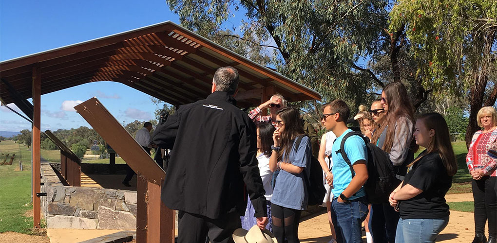 Students visiting a World War II prisoner of war camp, just outside of Cowra, NSW.