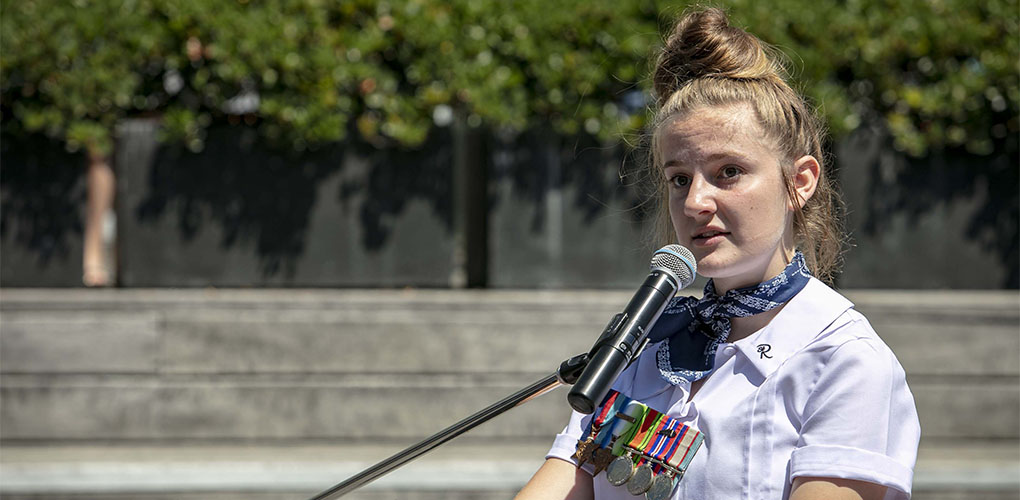 Oliva McLennan gives a speech at the Remembrance Day ceremony.