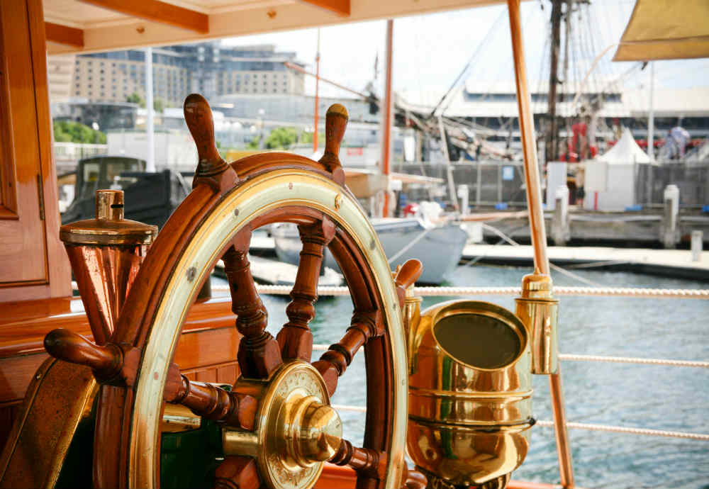 Made in 1900, Edwardian Steamer Yacht Ena features exquisite brass fixtures, polished timber and luxurious fabrics