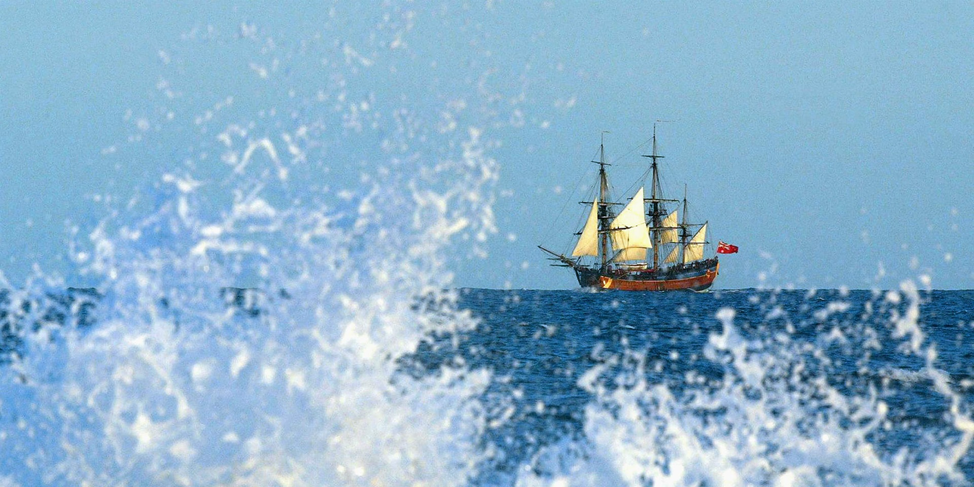 HMB Endeavour at sea